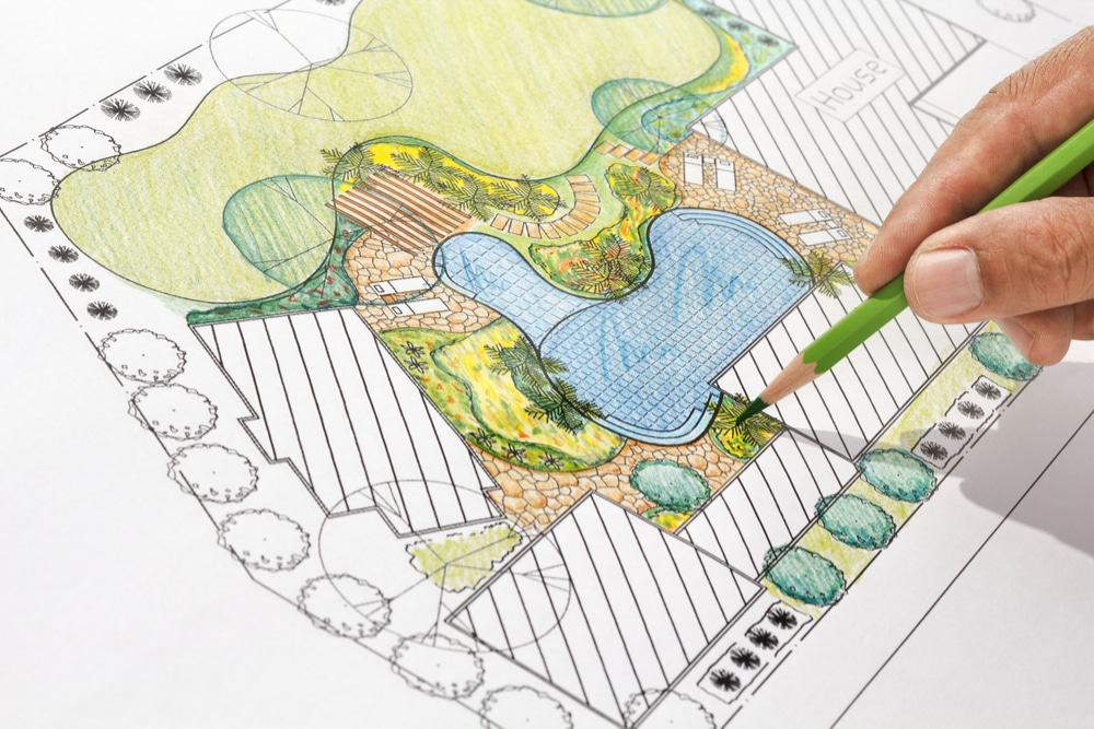 Drawing of a backyard, the landscape, and drawing of a pool plan.