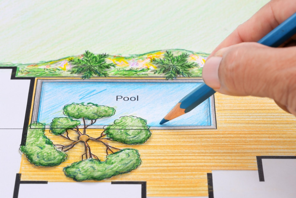 Drawing of a swimming pool design