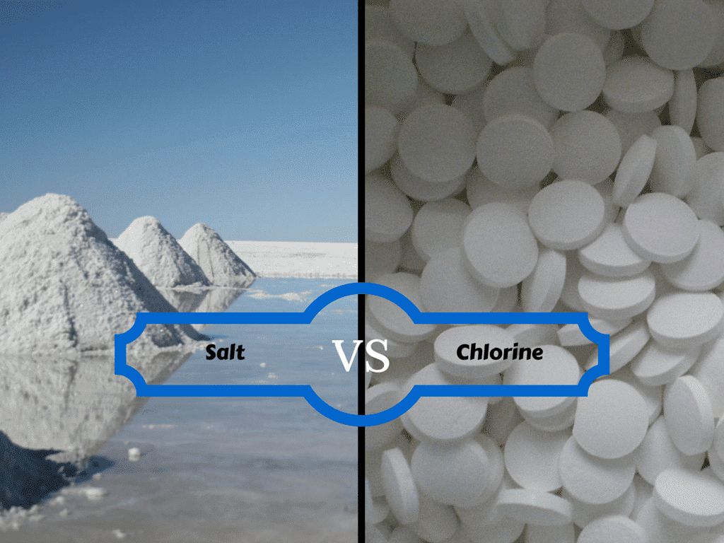 chlorination, purification, sanitize - image is showing difference between salt and chlorine for a swimming pool.