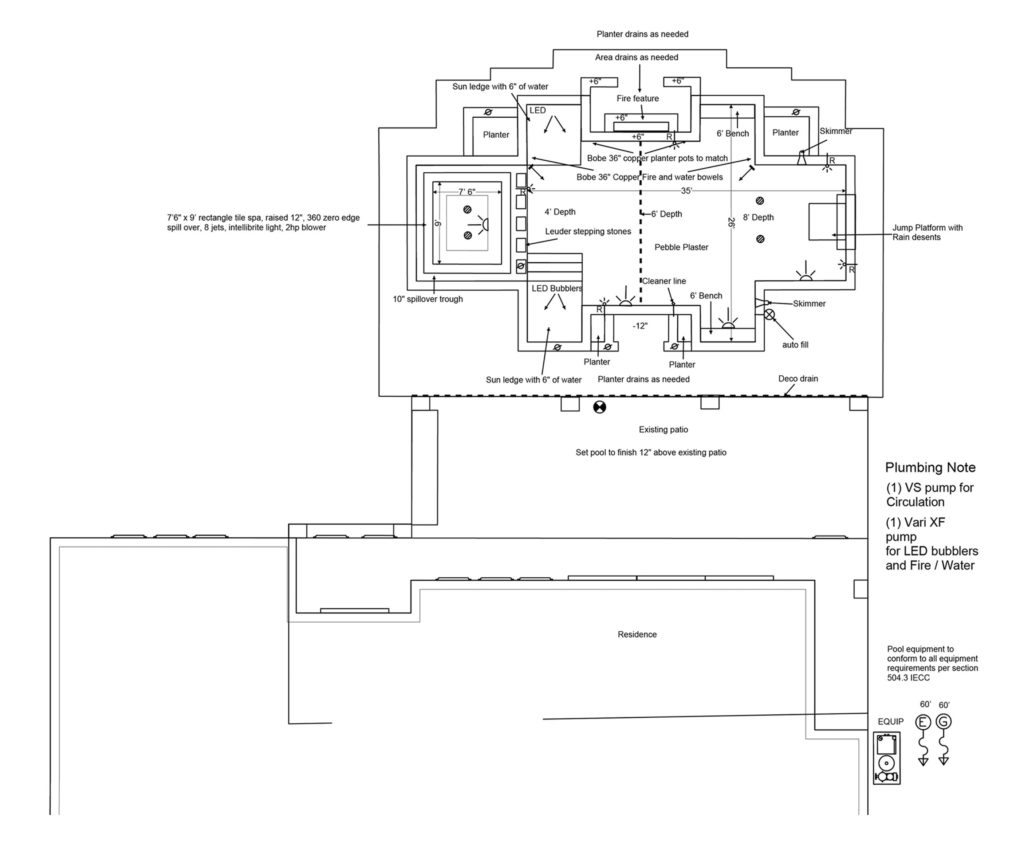 Swimming pool drawing/design, also shows a pool plumbing note.