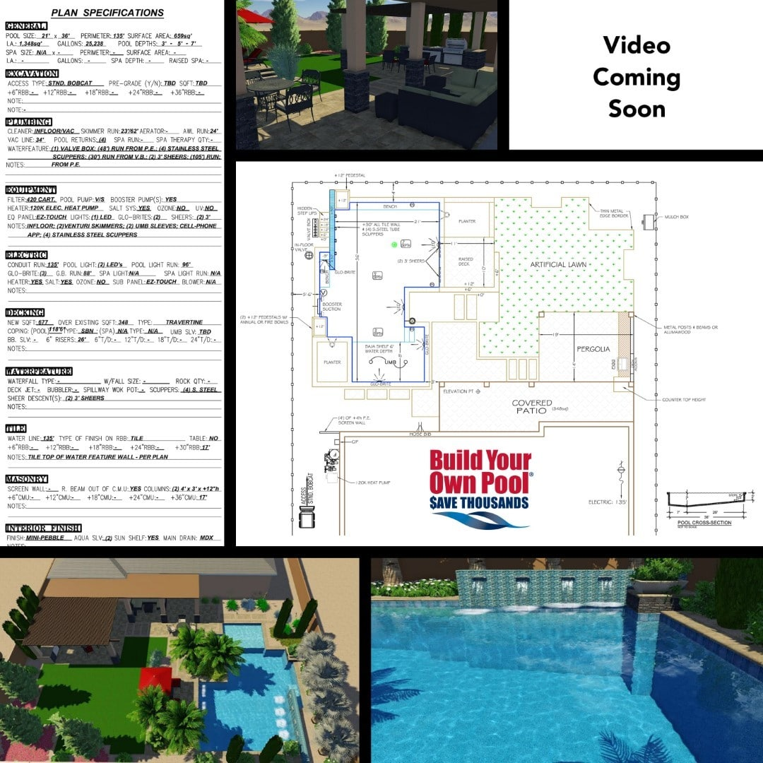 page showing multiple sections, left side is the plan specification form, right side shows black text saying video coming soon, middle is a 3-D design showing a covered patio, drawn out plan of a backyard with a swimming pool, and the bottom two photos are 3-D designs of a swimming pool.
