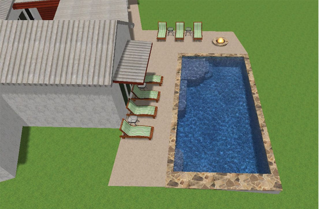 Long view 3-D design of a backyard pool, fire pit, and lounge area.