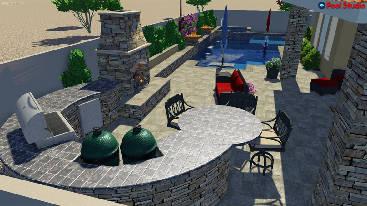 Side view of the swimming pool, shows the stone fireplace, the grill, and sitting area, lounge area with couches and partially covered.