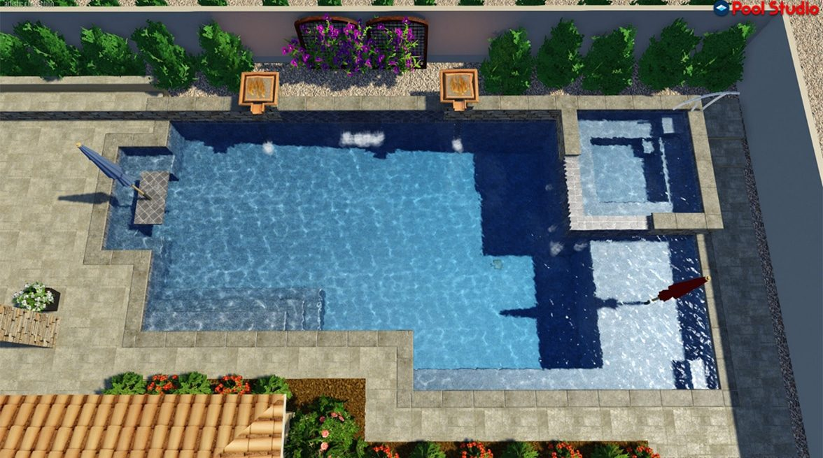 Overhead 3D rendering of a swimming pool connected to a hot tub, fire bowls on the side of the swimming pool.