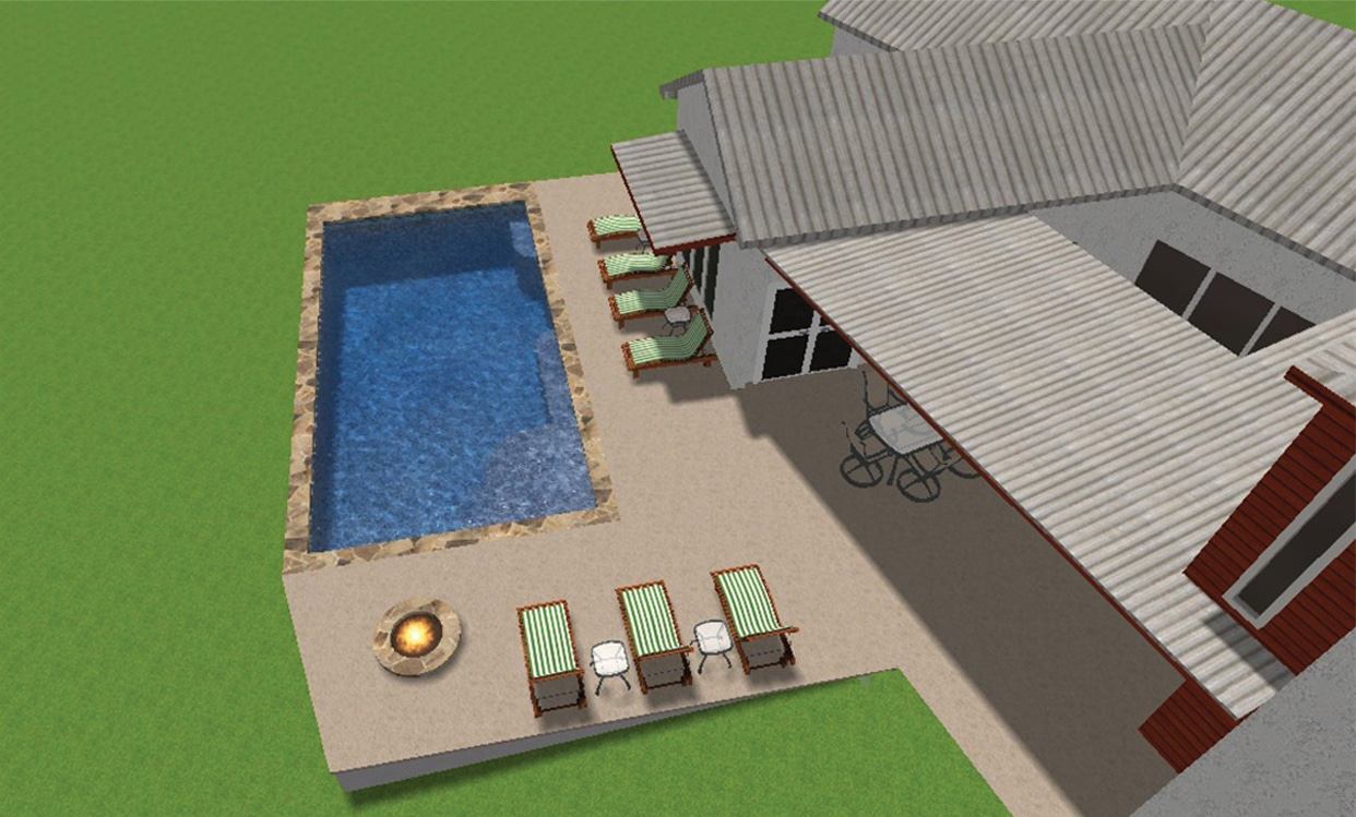 3-D design of a backyard pool, fire pit, and lounge area.
