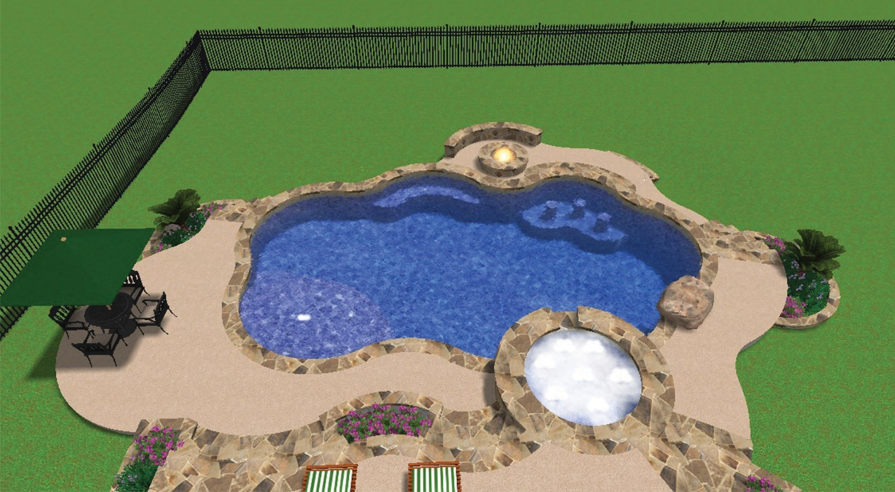 Overhead view of 3-D rendering with a swimming pool, hot tub, and a fire bowl next to the pool.
