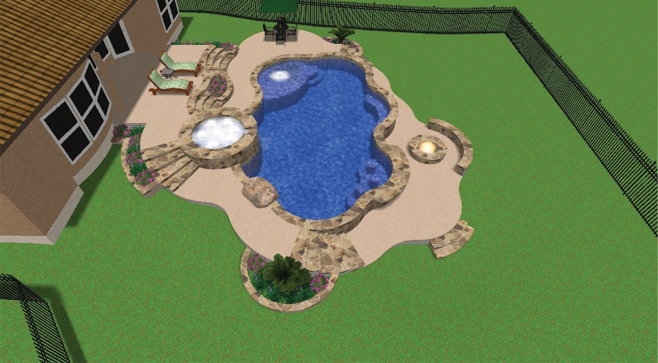 Side view of the swimming pool, hot tub, fire bowl.
