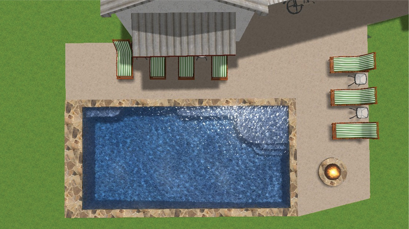 Overhead 3-D design of a backyard pool, fire pit, and lounge area.
