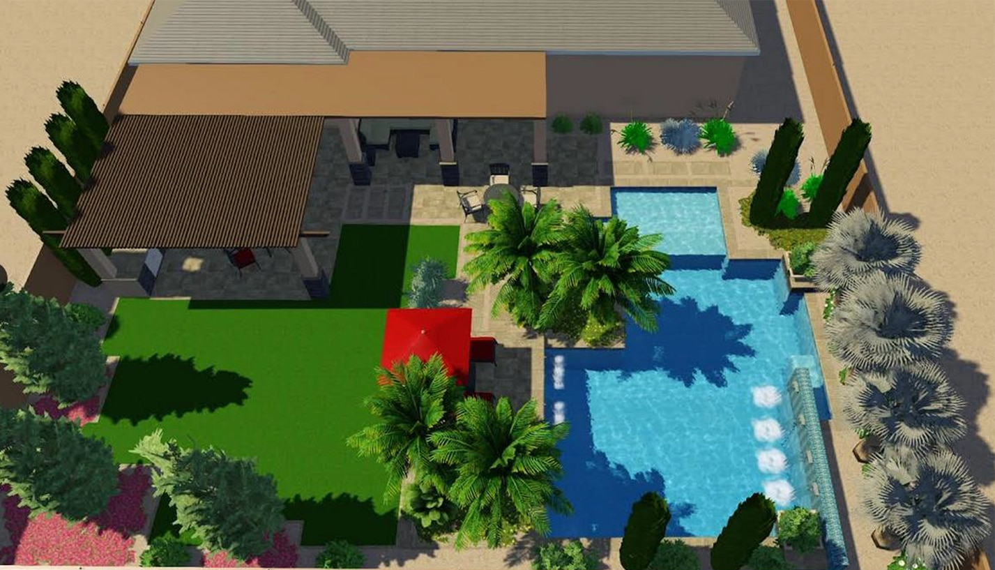 Overhead design view of a swimming pool and covered outdoor kitchen and lounge area.