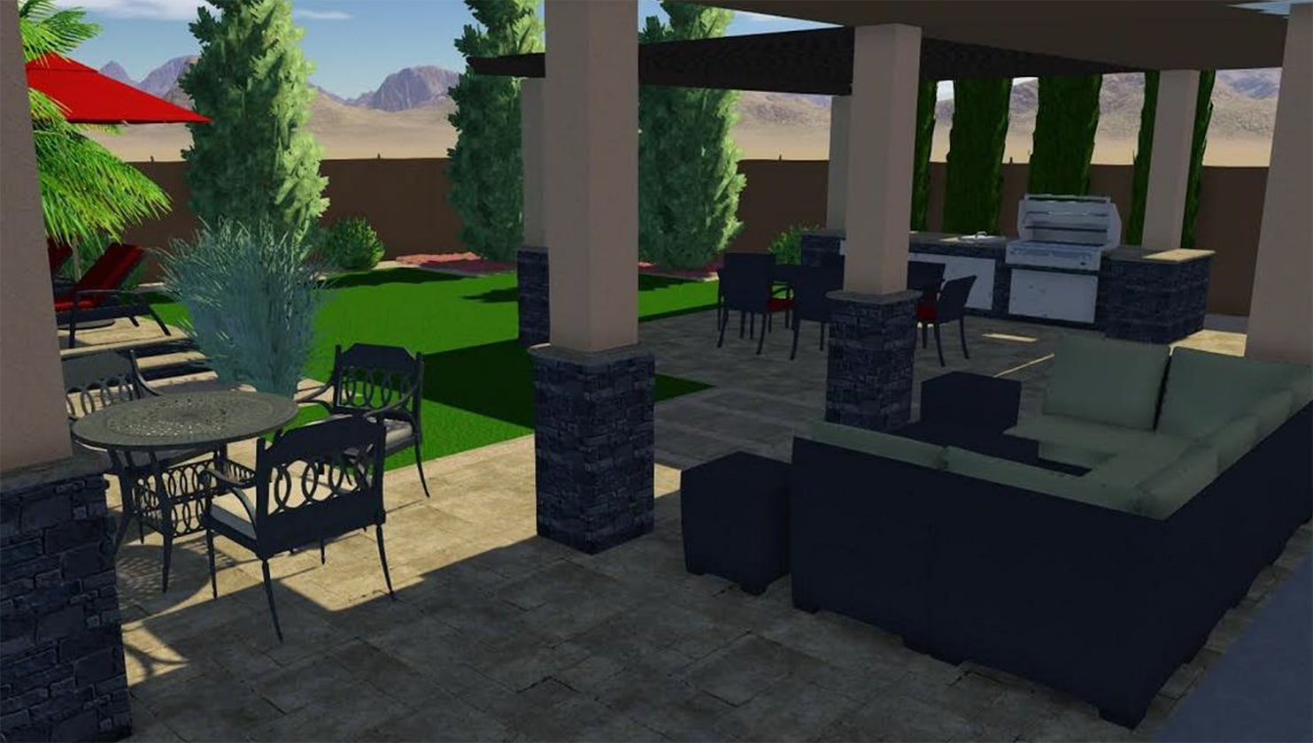 3-D design showing what a covered outdoor kitchen and lounge area would look like when finished.