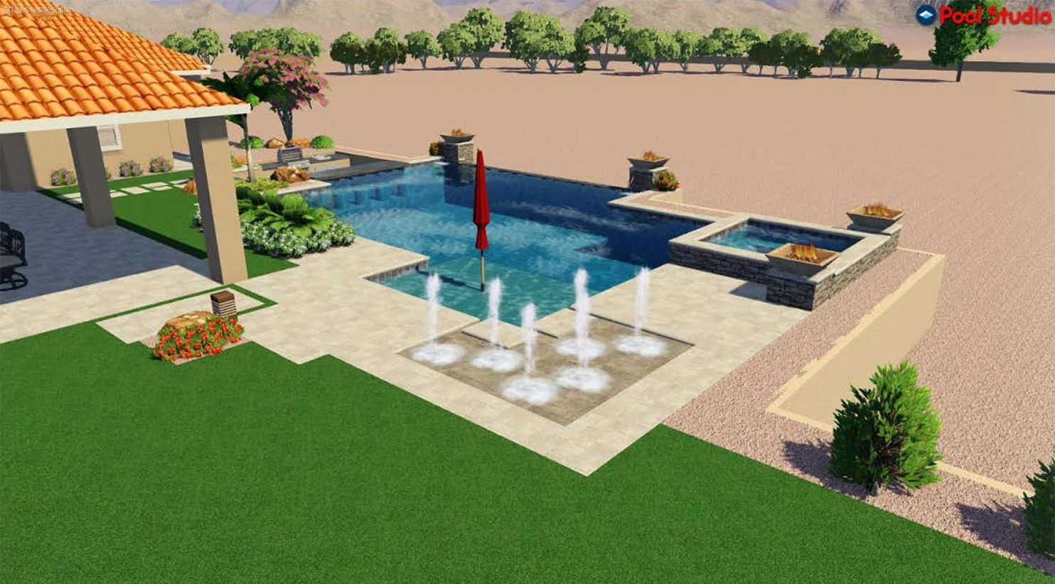 Swimming pool with fire bowls, and water fountains, umbrella in the center of the pool.