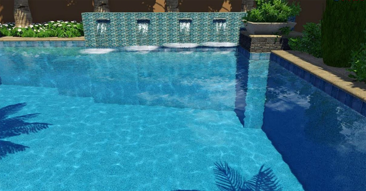 Swimming pool completed by BYOP, crystal clear water, gorgeous water fountain wall.