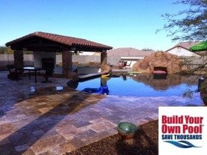 Completed pool and covered lounge area.
