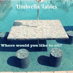 Outdoor seating, Umbrella, table, pool chair