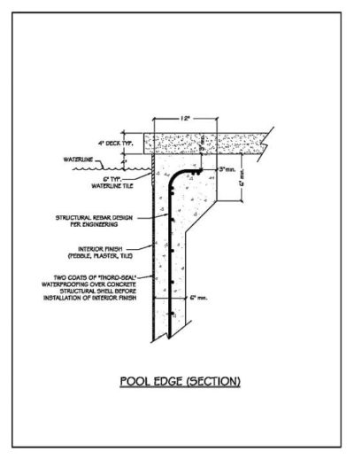 Building a pool construction details drawn out showing the pool edge section.