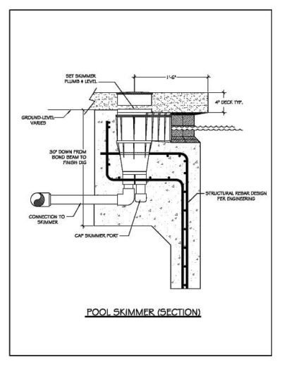 Construction details drawn out for the pool skimmer section of a swimming pool.