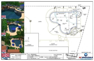 Computer Aided Swimming Pool Design - 3D Hybrid - for a Gilbert, Arizona family.