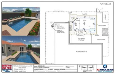 Computer aided swimming pool design - 3D Hybrid - Scottsdale, Arizona family pool design.