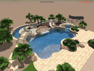 Side view of a 3D swimming pool for the Breinholt family.