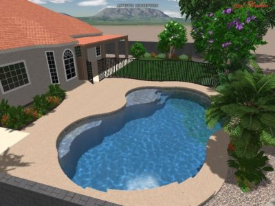 Swimming pool 3D rendering for the Bottolfson family.