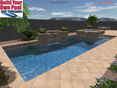 Backyard swimming pool in 3D for the Chandler family.