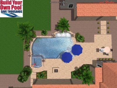 3D Rendering for the Meysenburg family. Shows how their swimming pool would look in their backyard.