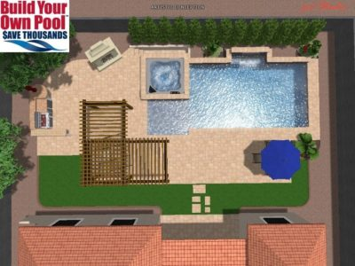 Overhead 3D rendering for the Rogerson family and how their swimming pool and hot tub would look in their backyard.