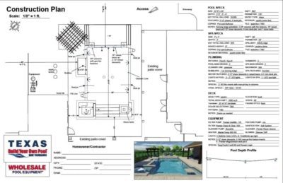 Pool construction plan from BYOP for the Barnes Family.