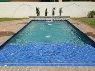 Close up view of the water in the Wilson family swimming pool.