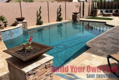 Carpenter family backyard showing gorgeous standing fire pits around the pool, showing the swimming pool.