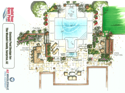 The Wadell family custom pool design located in Surprise, Arizona.