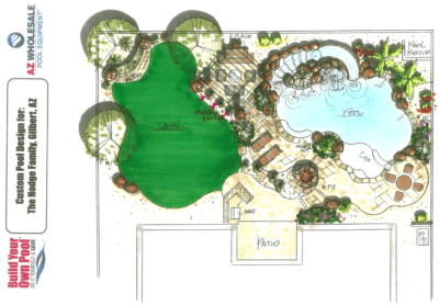 A custom swimming pool design for the Hodge family located in Gilbert, Arizona.