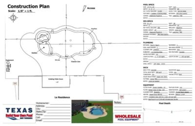Construction plan for a swimming pool for the Le residence.