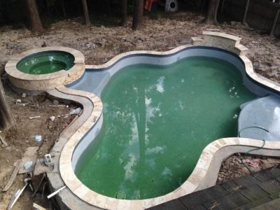 Texas swimming pool and hot tub, unfinished.