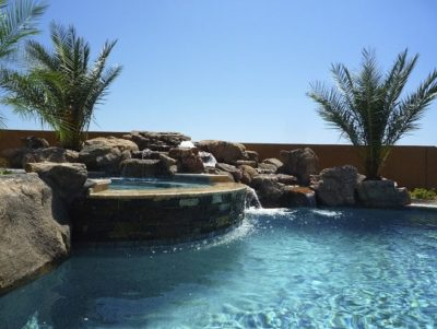 Close up view of an Arizona family's swimming pool and waterfall.