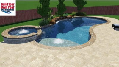 Side view of a swimming pool and hot tub 3D rendering for the Allen family located in Austin, Texas.
