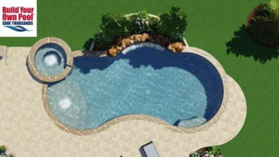 Over head view of a 3D rendering for the Allen family's backyard swimming pool and hot tub.