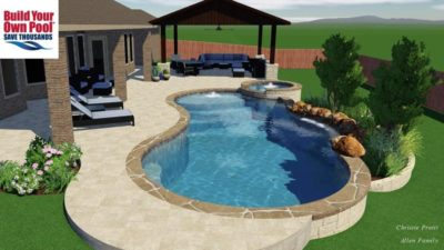 Swimming pool 3D design for the Allen family, shows the swimming pool, hot tub, and covered lounge area. Swimming pool is located in Austin, Texas.