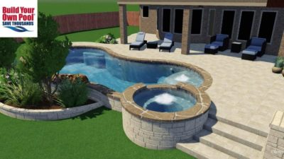 3D Swimming Pool Design for the Allen family, located in Austin, Texas. Close up of the hot tub with the swimming pool in the background.