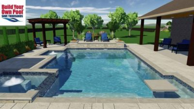 Close up view of a swimming pool and hot tub design for the Barnes family, located in Houston, Texas.