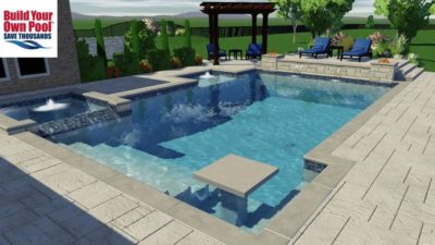 Barnes family close up of the 3D swimming pool design. Swimming pool includes a hot tub and water features.