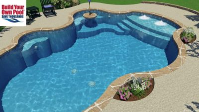 Close up view of the 3D swimming pool design for the Kessel family located in San Antonio, Texas.