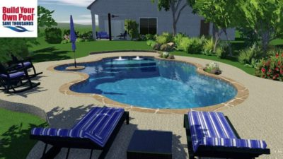 Side view from the lounge area side of the swimming pool. 3D swimming pool design for the Kessel family in San Antonio, Texas.