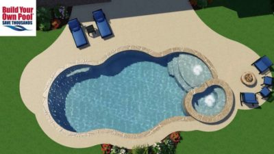 Over head view of the Le family swimming pool 3D rendering. You can see the pool layout along with the hot tub design.