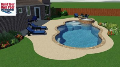 Side view of the Le family swimming pool layout and design. Swimming pool includes water feature and hot tub.