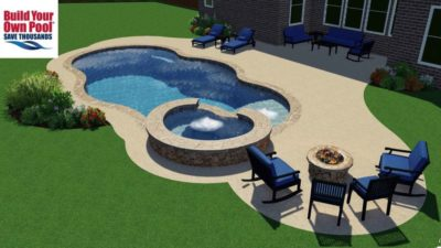 Fire pit side of the patio showing the view of the hot tub and swimming pool layout and pool design.