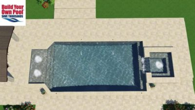Over head view of the Madugula family swimming pool layout. The pool includes a water fall and two other water features. Located in Dallas, Texas.