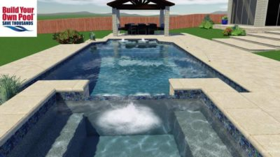 Close up, water view of the hot tub and swimming pool 3D design.