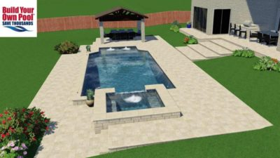 Hot tub side of the swimming pool, shows the backyard layout and design for the swimming pool for the Madugula family in Dallas, Texas.