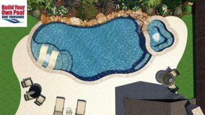 Over head view of the Neylon family 3D swimming pool design for their home in Fort Worth, Texas. The pool design includes a hot tub and two lounge chairs that are submerged in the pool water.